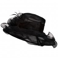 Iridescent Polyester Roses Organza Hat - Black