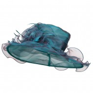 Iridescent Polyester Roses Organza Hat - Blue