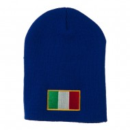 Europe Italy Flag Embroidered Short Beanie - Royal