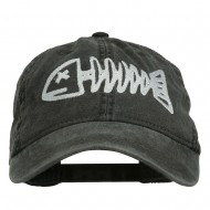 Fishbone Embroidered Pigment Dyed Brass Buckle Cap - Black
