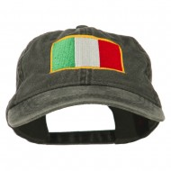 Italy Flag Embroidered Washed Cotton Twill Cap - Black