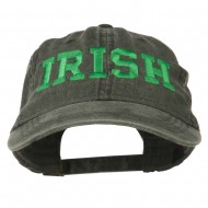 Irish Embroidered Washed Pigment Dyed Cap - Black
