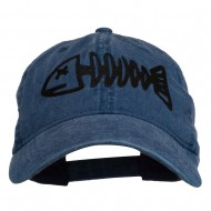 Fishbone Embroidered Pigment Dyed Brass Buckle Cap - Navy