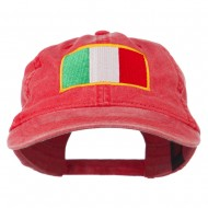 Italy Flag Embroidered Washed Cotton Twill Cap - Red
