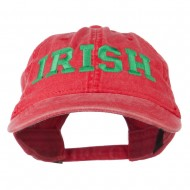 Irish Embroidered Washed Pigment Dyed Cap - Red
