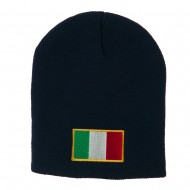 Europe Italy Flag Embroidered Short Beanie - Navy