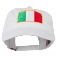 Italy Flag Embroidered Washed Cotton Twill Cap - White