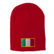 Europe Italy Flag Embroidered Short Beanie - Red
