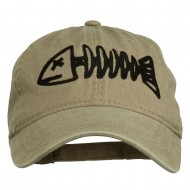 Fishbone Embroidered Pigment Dyed Brass Buckle Cap - Khaki