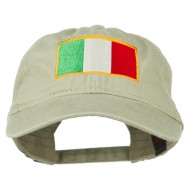Italy Flag Embroidered Washed Cotton Twill Cap - Khaki