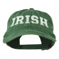 Irish Embroidered Washed Pigment Dyed Cap - Dark Green