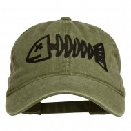 Fishbone Embroidered Pigment Dyed Brass Buckle Cap - Olive