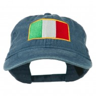 Italy Flag Embroidered Washed Cotton Twill Cap - Navy
