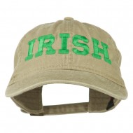 Irish Embroidered Washed Pigment Dyed Cap - Khaki