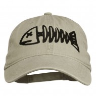 Fishbone Embroidered Pigment Dyed Brass Buckle Cap - Stone