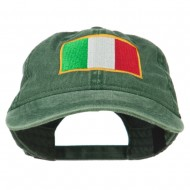 Italy Flag Embroidered Washed Cotton Twill Cap - Dark Green