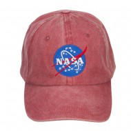 NASA Insignia Embroidered Washed Cap - Wine