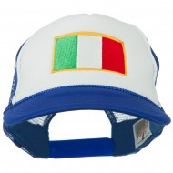 Italy Flag Embroidered Foam Front Mesh Back Cap - Royal White