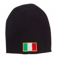 Europe Italy Flag Embroidered Big Short Beanie - Black