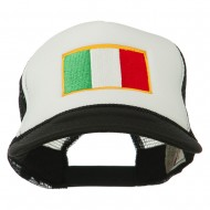 Italy Flag Embroidered Foam Front Mesh Back Cap - Black White