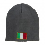 Europe Italy Flag Embroidered Big Short Beanie - Grey