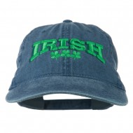 Irish Four Leaf Clover Embroidered Dyed Cap - Navy