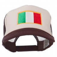Italy Flag Embroidered Foam Front Mesh Back Cap - Brown Tan