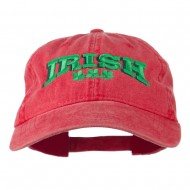 Irish Four Leaf Clover Embroidered Dyed Cap - Red