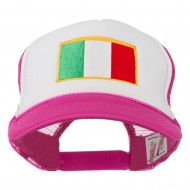 Italy Flag Embroidered Foam Front Mesh Back Cap - Hot Pink White