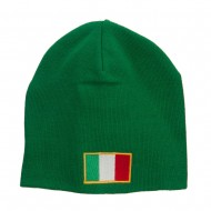 Europe Italy Flag Embroidered Big Short Beanie - Kelly