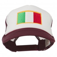 Italy Flag Embroidered Foam Front Mesh Back Cap - Maroon White