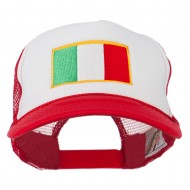 Italy Flag Embroidered Foam Front Mesh Back Cap - Red White Red