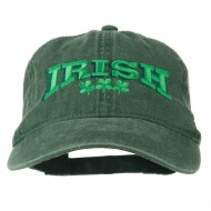 Irish Four Leaf Clover Embroidered Dyed Cap - Dk Green