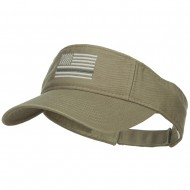 Thin Grey Line American Flag Embroidered Visor - Olive