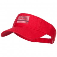 Thin Grey Line American Flag Embroidered Visor - Red