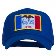 Iowa State Flag Patched Mesh Cap - Royal