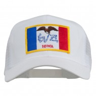 Iowa State Flag Patched Mesh Cap - White