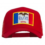 Iowa State Flag Patched Mesh Cap - Red