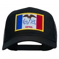 Iowa State Flag Patched Mesh Cap - Black