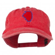 Illinois State Map Embroidered Washed Cotton Cap - Red