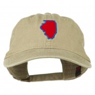 Illinois State Map Embroidered Washed Cotton Cap - Khaki