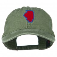 Illinois State Map Embroidered Washed Cotton Cap - Olive Green