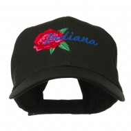 USA State Indiana Flower Peony Embroidered Low Cotton Cap - Black