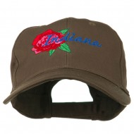 USA State Indiana Flower Peony Embroidered Low Cotton Cap - Brown