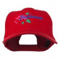 USA State Indiana Flower Peony Embroidered Low Cotton Cap - Red