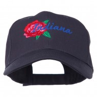 USA State Indiana Flower Peony Embroidered Low Cotton Cap - Navy