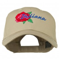 USA State Indiana Flower Peony Embroidered Low Cotton Cap - Khaki