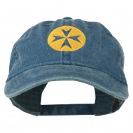 Circle Cross Design Embroidered Cap - Navy