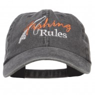 Fishing Rules Embroidered Washed Cap - Black