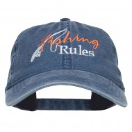Fishing Rules Embroidered Washed Cap - Navy
